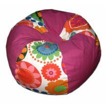 Pink-virágos gömböc alakú babzsák