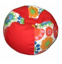 Piros-virágos gömböc alakú babzsák