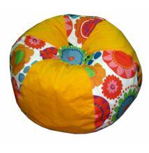 Sárga-virágos gömböc alakú babzsák
