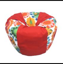 Piros-virágos csepp alakú babzsák