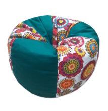Babzsákfotel smaragdzold-mandala csepp alakú