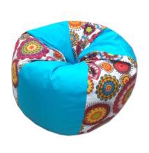 Babzsákfotel türkiz-mandala csepp alakú