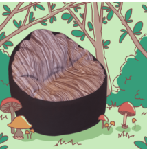Babzsákfotel gyerekeknek fa mintázatú