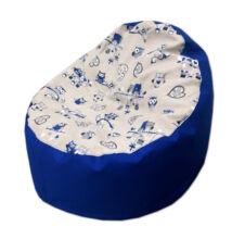 Babzsákfotel gyerekeknek kék baglyos mini kagyló