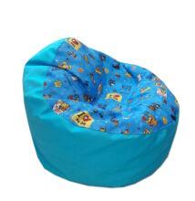 Babzsákfotel gyerekeknek türkiz kutyás-cicás mini kagyló