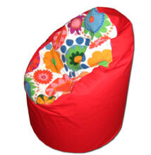Piros-virágos közepes fotel fazonú babzsák