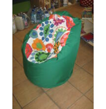 Zöld-virágos közepes fotel fazonú babzsák
