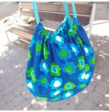 Amelie retro kék-zöld virágos körtáska