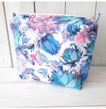 Classic obag táska belső türkiz-pink virágos