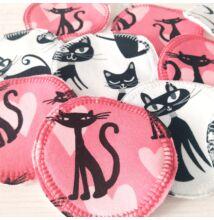 Pamut arctisztító korongok fekete-fehér-pink cicás