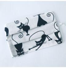 Szájmaszk, fekete-fehér cicás