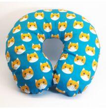 Kék-sárga cicás nyakpárna gyerekeknek