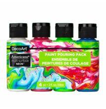 DecoArt Americana multi-surface selyemfényű akril festék, szett, Neons