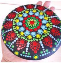 Kék-zöld-piros mandala pontfestő technikával