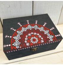 Pink-szürke ajándékdoboz pontfestő technikával