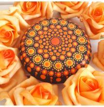 Narancs mandala pontfestő technikával
