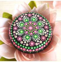 Pink-zöld mandala pontfestő technikával