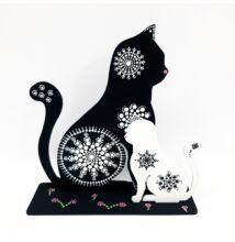 Fekete-fehér pontfestett fa cica szett
