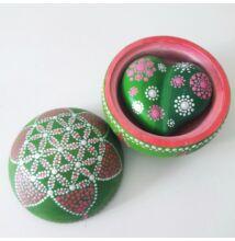 Pontfestett dobozka és mandalakő szett, pink-zöld, Élet virága
