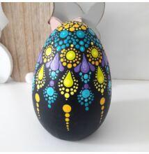 Pontfestett kerámia tojás kék-lila-sárga