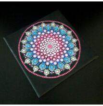 Kék-pink mandala pontfestő technikával