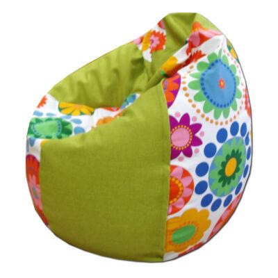 Zöld-virágos csepp alakú babzsák