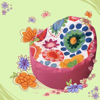 Babzsákfotel gyerekeknek pink virágos
