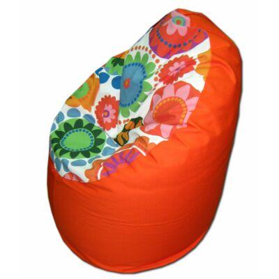 Narancs-virágos közepes fotel fazonú babzsák