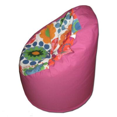 Pink virágos közepes fotel fazonú babzsák